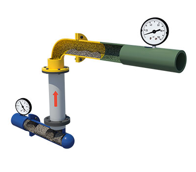 opened conveying pipe